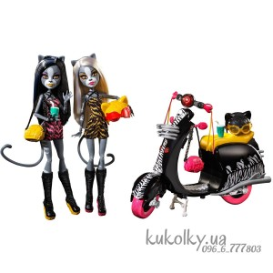 Набор кукол на скутере/мотоцикле Пурсефона и Мяулодия