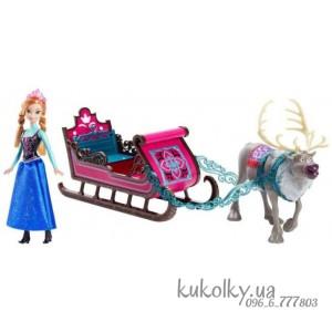 Холодное сердце набор кукол Анна, олень Свен и сани